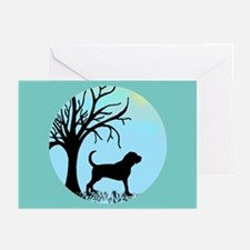 Tree & Bloodhound Dog Greeting Cards (Pk of 10)