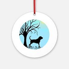 Tree & Bloodhound Dog Ornament (Round)
