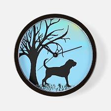 Tree & Bloodhound Dog Wall Clock