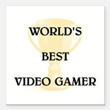 "VIDEO GAMER Square Car Magnet 3"" x 3"""
