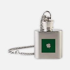 St Patricks Day Shamrock Flask Necklace