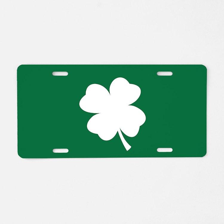 St Patricks Day Shamrock Aluminum License Plate