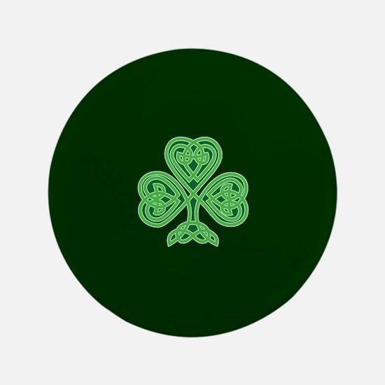 """Celtic Shamrock - St Patricks Day 3.5"""" Button"""