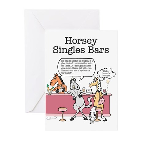 Horsey Singles Bars Greeting Cards (Pk of 10)