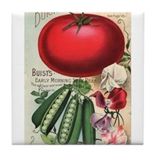 Majestic Tomato and Morning Star Peas Tile Coaster