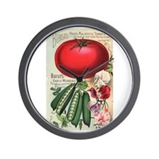 Majestic Tomato and Morning Star Peas Wall Clock