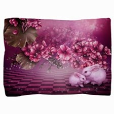Pink Easter Rabbits Pillow Sham