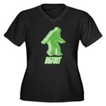Bigfoot Silhouette Women's Plus Size V-Neck Dark T - Own a piece of this cryptid mystery, own your Big Foot T-shirt and other cool Big Foot gift items today! 30-day satisfaction & money back guarantee! - Availble Sizes:1 (16/18),2 (20/22),3 (24/26),4 (28/30),5 (32/34) - Availble Colors: Black,Navy