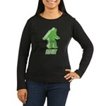 Bigfoot Silhouette Women's Long Sleeve Dark T-Shir - Own a piece of this cryptid mystery, own your Big Foot T-shirt and other cool Big Foot gift items today! 30-day satisfaction & money back guarantee! - Availble Sizes:Small,Medium,Large,X-Large,2X-Large (+$3.00) - Availble Colors: Black