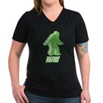 Bigfoot Silhouette Women's V-Neck Dark T-Shirt - Own a piece of this cryptid mystery, own your Big Foot T-shirt and other cool Big Foot gift items today! 30-day satisfaction & money back guarantee! - Availble Sizes:Small,Medium,Large,X-Large,2X-Large (+$3.00),3X-Large (+$3.00) - Availble Colors: Black,Silver,Navy,Charcoal,Kelly,Coral,Garnet