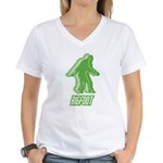 Bigfoot Silhouette Women's V-Neck T-Shirt - Own a piece of this cryptid mystery, own your Big Foot T-shirt and other cool Big Foot gift items today! 30-day satisfaction & money back guarantee! - Availble Sizes:Small,Medium,Large,X-Large,2X-Large (+$3.00),3X-Large (+$3.00) - Availble Colors: White