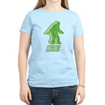 Bigfoot Silhouette Women's Light T-Shirt - Own a piece of this cryptid mystery, own your Big Foot T-shirt and other cool Big Foot gift items today! 30-day satisfaction & money back guarantee! - Availble Sizes:Small,Medium,Large,X-Large,2X-Large (+$3.00) - Availble Colors: Light Yellow,Light Pink,Light Blue