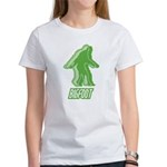 Bigfoot Silhouette Women's T-Shirt - Own a piece of this cryptid mystery, own your Big Foot T-shirt and other cool Big Foot gift items today! 30-day satisfaction & money back guarantee! - Availble Sizes:Small,Medium,Large,X-Large,2X-Large (+$3.00) - Availble Colors: White