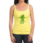 Bigfoot Silhouette Jr. Spaghetti Tank - Own a piece of this cryptid mystery, own your Big Foot T-shirt and other cool Big Foot gift items today! 30-day satisfaction & money back guarantee! - Availble Sizes:Small,Medium,Large,X-Large - Availble Colors: White,Light Blue,Light Pink,Lemon