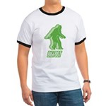 Bigfoot Silhouette Ringer T - Own a piece of this cryptid mystery, own your Big Foot T-shirt and other cool Big Foot gift items today! 30-day satisfaction & money back guarantee! - Availble Sizes:Small,Medium,Large,X-Large,2X-Large (+$3.00) - Availble Colors: Black/White,Red/White,Navy/White