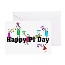 Pi Day Stick People Greeting Cards