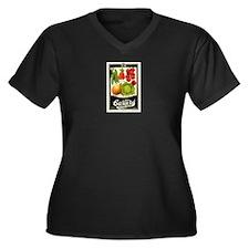 Carters Vege Women's Plus Size V-Neck Dark T-Shirt
