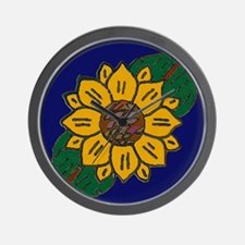 Mexican Tile Sunflower Blue Wall Clock