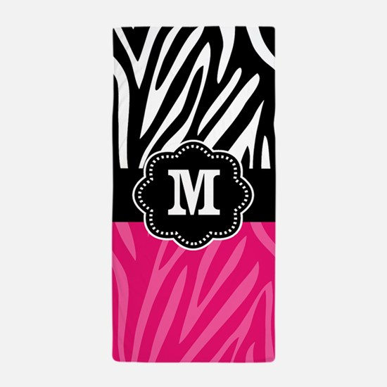 Pink Zebra Print Monogram Beach Towel