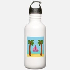 Pink Sailboat on a Beach Water Bottle