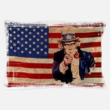 Uncle Sam Pointing Retro Distressed Pillow Case