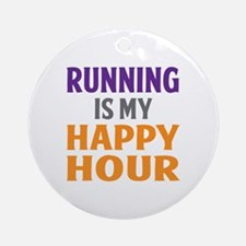 Running Is My Happy Hour Round Ornament