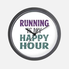 Running Is My Happy Hour Wall Clock