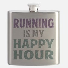 Running Is My Happy Hour Flask