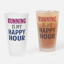 Running Is My Happy Hour Drinking Glass