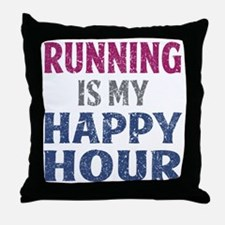Running Is My Happy Hour Throw Pillow