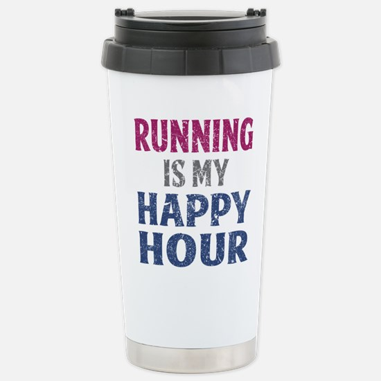 Running Is My Happy Hou Stainless Steel Travel Mug