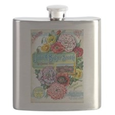 Peacock Poppies Flask