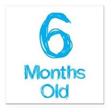 """6 Months Old Baby Milest Square Car Magnet 3"""" x 3"""""""
