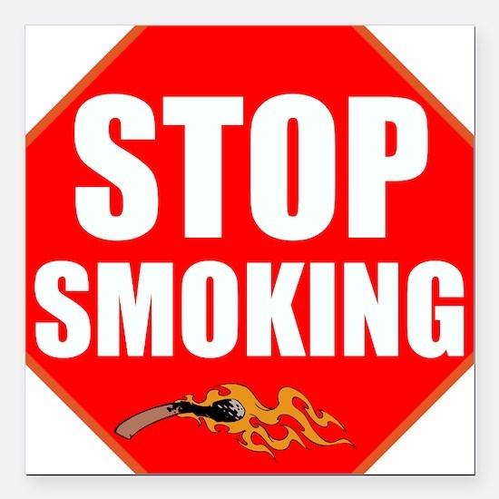 """Stop Smoking Square Car Magnet 3"""" x 3"""""""
