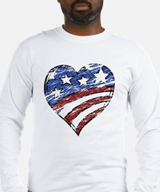 Distressed American Flag Heart Long Sleeve T-Shirt