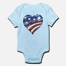 Distressed American Flag Heart Body Suit