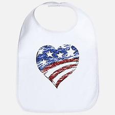 Distressed American Flag Heart Bib