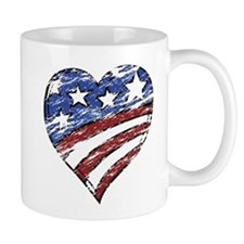 Distressed American Flag Heart Mugs