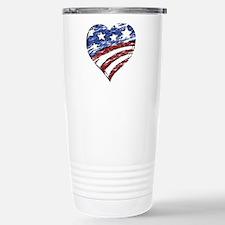 Distressed American Fla Stainless Steel Travel Mug