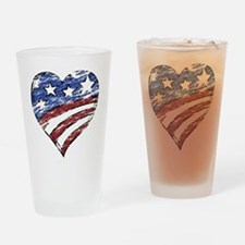 Distressed American Flag Heart Drinking Glass