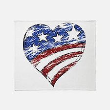 Distressed American Flag Heart Throw Blanket