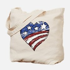 Distressed American Flag Heart Tote Bag