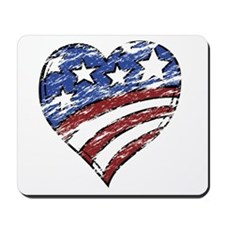 Distressed American Flag Heart Mousepad