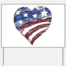 Distressed American Flag Heart Yard Sign