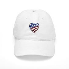 Distressed American Flag Heart Baseball Cap