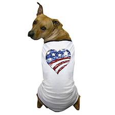 Distressed American Flag Heart Dog T-Shirt