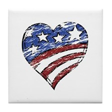 Distressed American Flag Heart Tile Coaster
