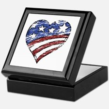 Distressed American Flag Heart Keepsake Box