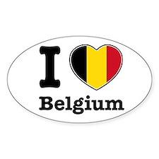 I love Belgium Oval Decal