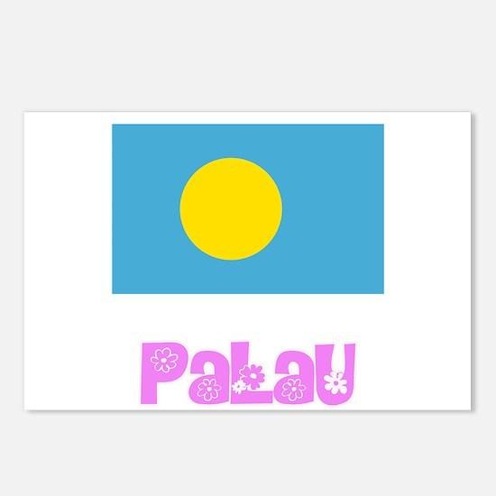 Palau Flag Pink Flower De Postcards (Package of 8)